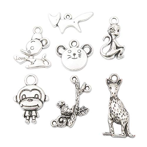 70 pcs Mixed Style Vintage Antique Silver Alloy Monkey Charms Pendant Jewelry Findings for Jewelry Making Necklace Bracelet DIY 22X15mm (70pcs)