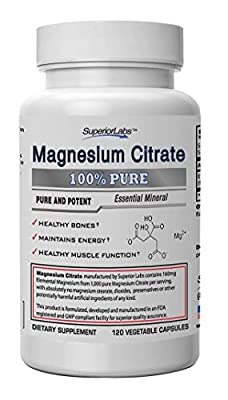 #1 Magnesium Citrate - No Magnesium Stearate - 1000mg Magnesium Citrate (160mg Elemental Magnesium), 120 Vegetable Caps - Made In USA, 100% Money Back Guarantee