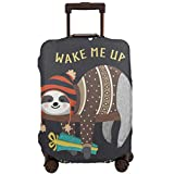 Cute Baby Sloth Sleeping Luggage Cover Spandex Travel Suitcase Protector Elastic Stretchy S Fits 18-21 inch Luggage