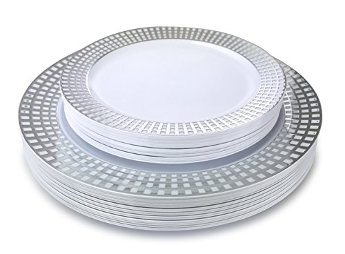 OCCASIONS 50 Piece Wedding Plastic Plates - Disposable Dinnerware for 25 guests - (Princess White/Silver)