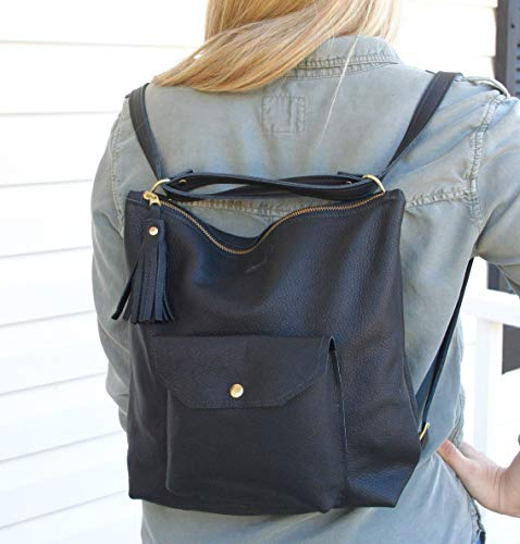 Leather Backpack Convertible - Backpack Purse - Black Leather Backpack Converts to Shoulder Bag - Black Leather Shoulder Bag with Pockets ()