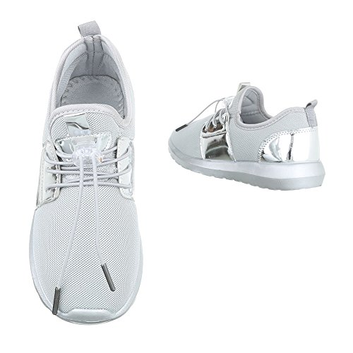 Ital-Design Sneakers Low Damenschuhe Schnürsenkel Freizeitschuhe Grau Silber
