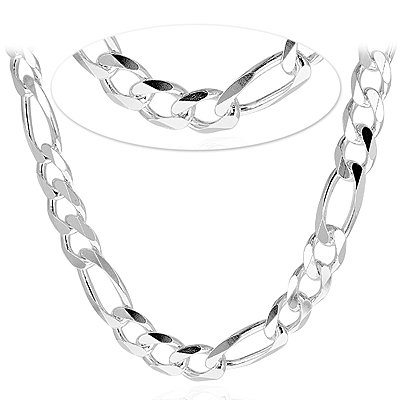 Figaro 350-12MM .925 Sterling Silver Italian Link Chain (24 Inches)