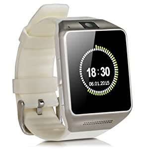 Luxsure® GV08 Bluetooth Smartwatch Watch Mobile Phone Touch Screen Camera SIM Card Outdoor Sport Watch for Android Samsung and IOS Apple iphone Smartphone(White)