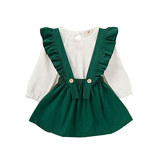 Mouyeon Cute Linen Suspender Skirt Set Baby Girl Toddlers Comfortable Long Sleeve Shirt Ruffled Skir Green, 1 - 2 Years