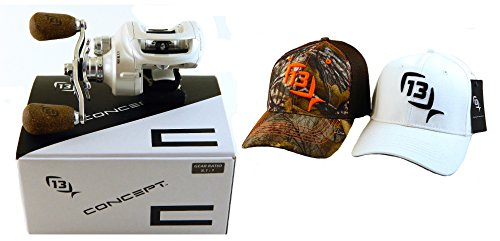 bundle-13-fishing-concept-c-c81rh-811-right-hand-baitcast-fishing-reel-with-2-s-m-hats