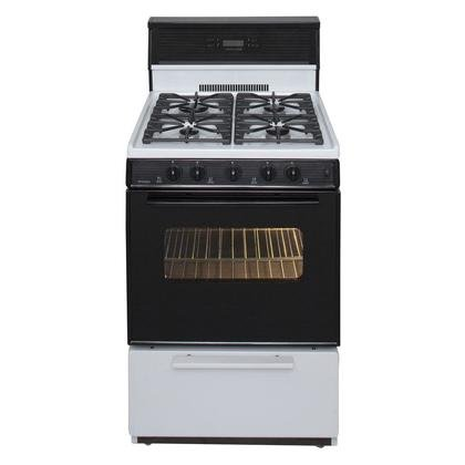 Premier SJK340WP 24'' Freestanding Gas Range with 2.97 cu. ft. Capacity 17000 BTU Input 4 Sealed Burners Windowed Black Glass Oven Door with Interior Light and Durable Porcelain Cooktop in