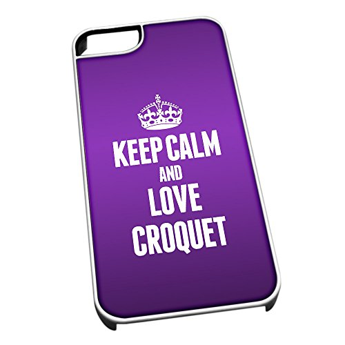 Bianco cover per iPhone 5/5S 1727viola Keep Calm and Love croquet