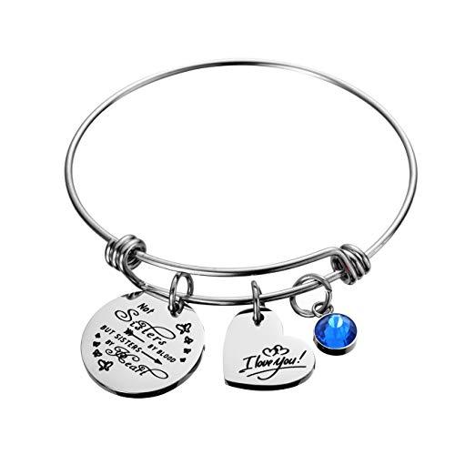 Heart Friendship Bracelet - Raysunfook Not Sisters by Blood But Sisters by Heart Birthstone Charm Bracelet Friendship Gift I Love You Sister Cuff Friend Jewelry