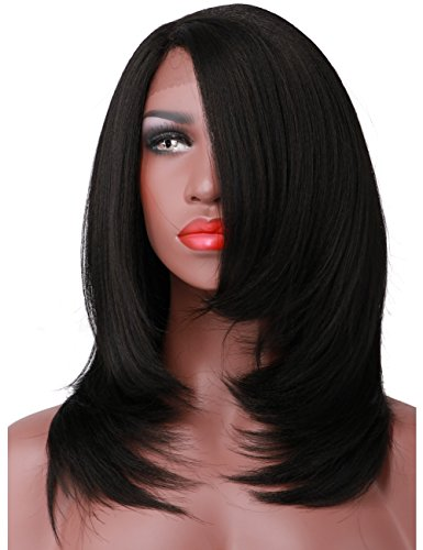 Wigs Short Yaki Straight Glueless Lace Front Wigs L Part Heat Resistant Synthetic Hair Replacement For Women Half Hand Tied (1B) - Milano Anime Costumes
