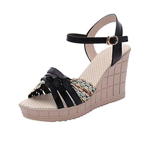 Hee Grand Women Bohemian Style Peep-Toe Platform Wedge Heel Sandals US 7 Black