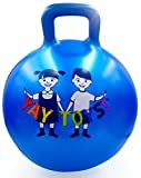 VIAHART 18 Blue Space Hopper Ball with Handle, Pump Included, Jumping Hopping Hoppity Hippity Hop Bouncy Bounce Ball for Kids