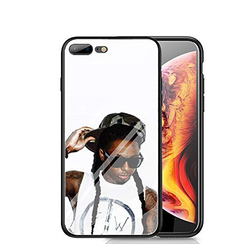 RUIWEI RWNO-232 Lil Wayne Designed for iPhone 7 Plus/8 Plus Case,Tempered Glass Back Cover and Black Anti-Scratch Shock Absorption Cover ()