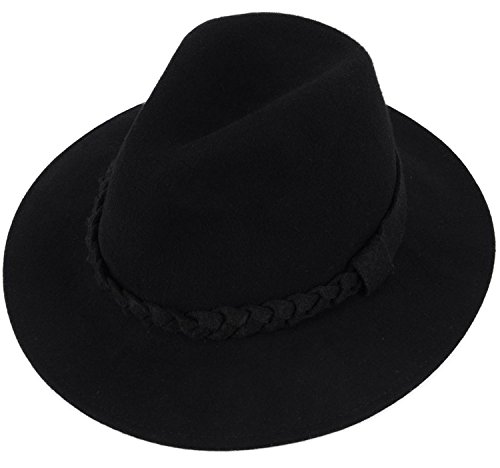 Simplicity Women's Wide Brim Wool Felt Fedora Hat with a Braided Band Black