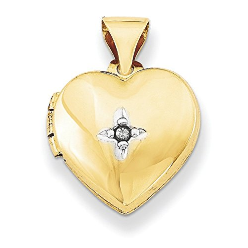 12 mm 14 carats avec diamant JewelryWeb-Coeur-Locket