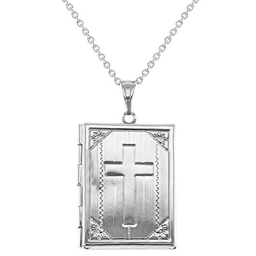 "Silver Tone Holy Bible Photo Locket Memory Cross Religious Pendant Necklace 19"""