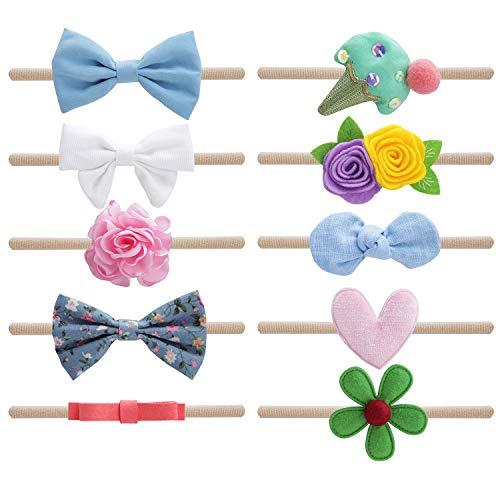 (Belle Beau Baby Girls Headbands, Nylon Bow Headbands for Newborn, Infant, Toddler, Hair Accessories)