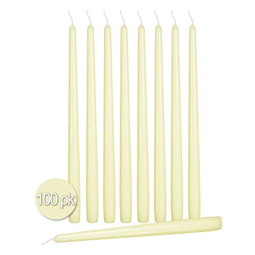 Thin Taper - Ner Mitzvah 100 Pack Tall Taper Candles - 12 Inch Ivory Dripless, Unscented Dinner Candle - Paraffin Wax with Cotton Wicks - 10 Hour Burn Time