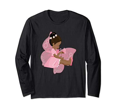 Brown Girl Curly Natural Hair Pink Butterfly Fairy Art Long Sleeve T-Shirt - Fairy Butterfly T-shirt