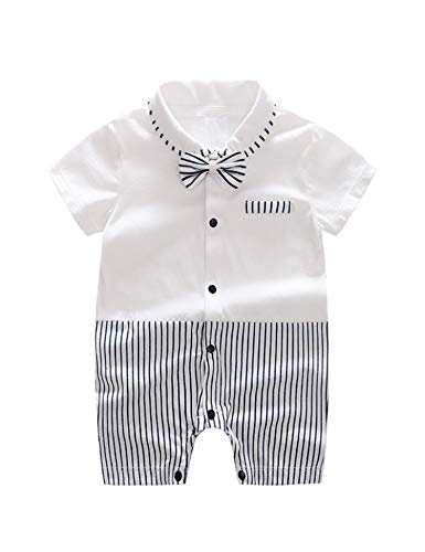 D.B.PRINCE Infant Newborn Baby Boys Gentleman Clothes Cotton Rompers Small Suit Bodysuit Outfit with Bow Tie (Black s, 12-24 Months)