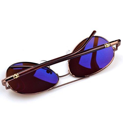 de Anteojos de Protección Polarizadas Conducción Sol Lente LINNUO Gafas Mujer UV Sunglasses Vintage Eyeglasses Hombre Marrón Aviador 1tPqnp