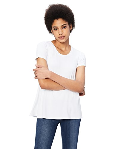Daily Ritual Women's Jersey Short-Sleeve Scoop Neck Swing T-Shirt, White, X-Large ()
