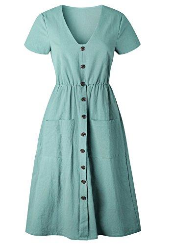 Robe Manches Courtes Robe Yidarton Vintage Casual de V 2 Col Plage Vert Chic d't Femme de Longue wx0dqp1qY