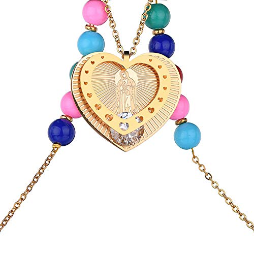 lightclub Virgin Mary Heart Pendant Colorful Beads Necklace Women Religious Jewelry Gift - Golden Elegant Necklace for Women