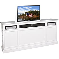 TVLiftCabinet Suite White TV Cabinet, White