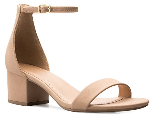 OLIVIA K Women's Ankle Strap Kitten Heel – Adorable Low Block Heel