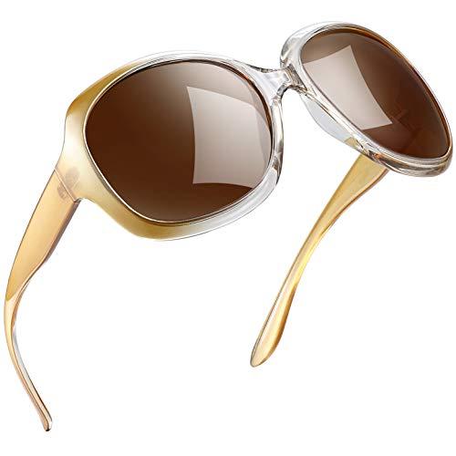 Joopin Oversized Fashion Sunglasses for Women, UV400 Big Frame Womens Sunglasses Polarized Ladies Sunglasses H9045 (Champagne ()