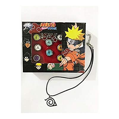 calhepco Naruto Cosplay Black Leahter Necklace with 10 Pcs Naruto Rings Akatsuki Member's Ring Set in Box: Jewelry
