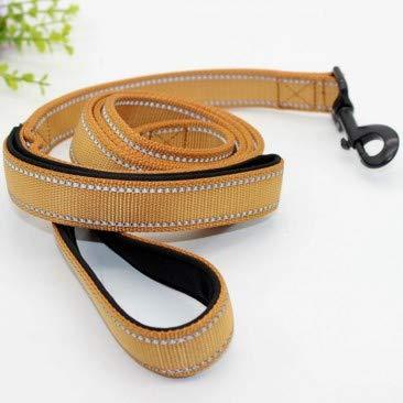 Khaki M Khaki M Traction Rope Dog Traction Large and Medium Dog Nylon Double Layer Thick Reflective Dog Leash (color   Khaki, Size   M)