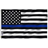 Anley Fly Breeze 3x5 Foot Thin Blue Line USA Flag - Vivid Color and UV Fade Resistant - Canvas Header and Double Stitched - Honoring Law Enforcement Officers Flags Polyester with Brass Grommets