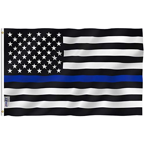 Anley Fly Breeze 3x5 Foot Thin Blue Line USA Flag - Vivid Color and UV Fade Resistant - Canvas Header and Double Stitched - Honoring Law Enforcement Officers Flags Polyester with Brass Grommets ()