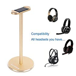 Headphone Stand Gaming Headset Holder Franktech Solid Aluminum Earphone Stand With Anti-slip Mat For All Headphone Size (Gold)
