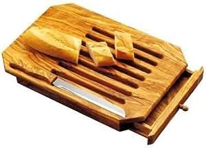 Tabla para cortar pan de Madera, con caj—n recogemigas y cuchillo