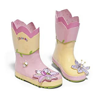Kidorable Lotus Flower Yellow and Pink Natural Rubber Rain Boot