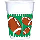 """Amscan Football Frenzy Birthday Party The Big Game Plastic Cups (25 Piece), White/Green, 12.5 x 3.5"""""""