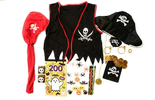 Pirate Costume Halloween Boys Vest Scarf Eye Patch Gold Coins Earing Ring Necklace Bag -