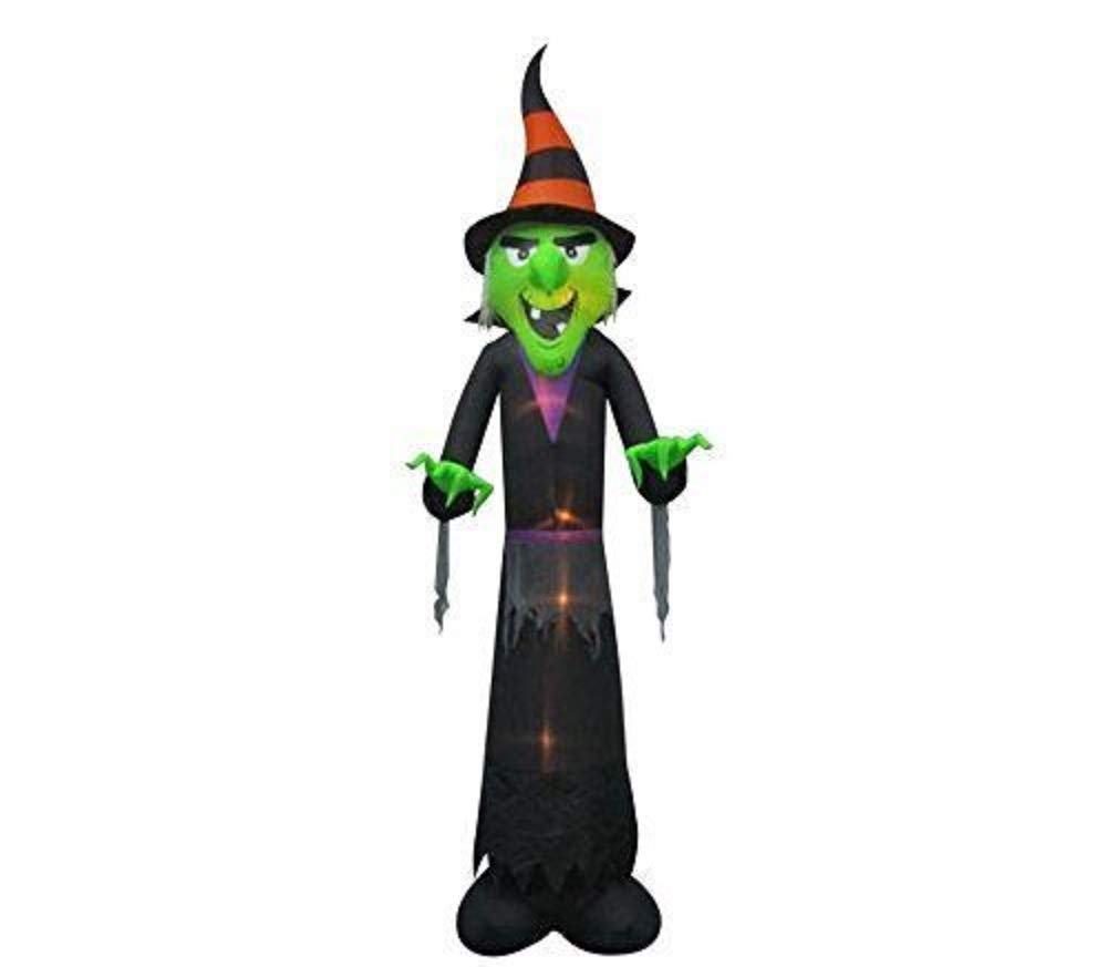 Outdoor Halloween Yard Decor 12 ft. Lighted Inflatable Witch by Gemmy