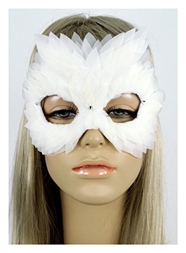 Handmade in the USA Masquerade Feather Mask White (White) by Largemouth