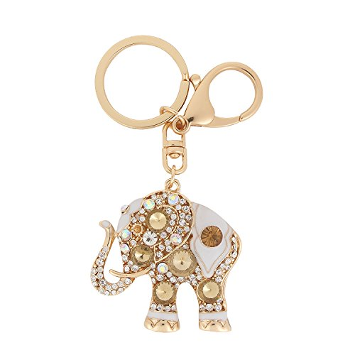 Women Rhinestone Keychain ,USATDD Golden Elephant Key chains Crystal Pendent Bling Clothing Accessories Handbag Decoration Sparkling Keyrings For Purse Bag Charm With Gift Box