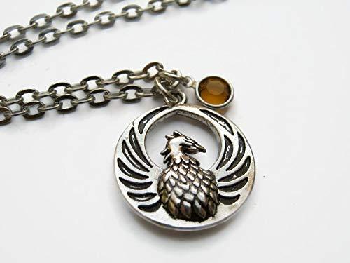 Personalized Phoenix Necklace, Fantasy Bird Pendant, Mythology Birthstone Jewelry, Rebirth Gift -