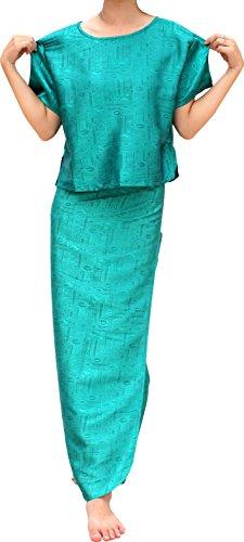 - RaanPahMuang Textured Silk Dress - Wrap Skirt and Summer Blouse Set, Medium, Persian Green