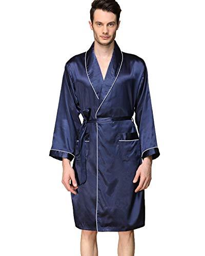 - Haseil Men's Satin Kimono Robe Spring Summer Shawl Collar Sleepwear Classic Silk Bathrobes, Royal Blue,TagsizeL=USsizeXS/S