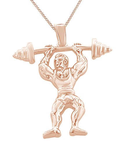 Weight Lifting Hip Hop Pendant in 14k Rose Gold Over Sterling Silver by AFFY