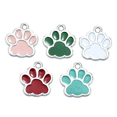 - JETEHO 20pcs Enamel Animal Pet Paw Foot Print Charms for Jewelry Making Earring Bracelet