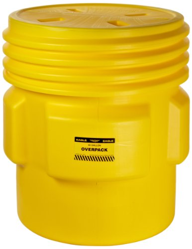 Eagle 1661 Yellow Blow-Molded HDPE Overpack Drum with Screw-on Lid, 65 gallon Capacity, 33.75'' Height, 31'' Diameter by Eagle