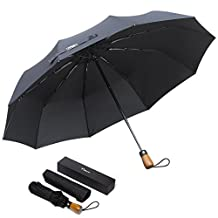 Tishow Umbrella 2017 New Automatic Folded Umbrella/Portable Mini Lightweight for Easying Carrying/ Auto Open/All-weather Rain Umbrella/10 Ribs Reinforced Windproof/Golf Travel Outdoor Umbrella /Classic Black